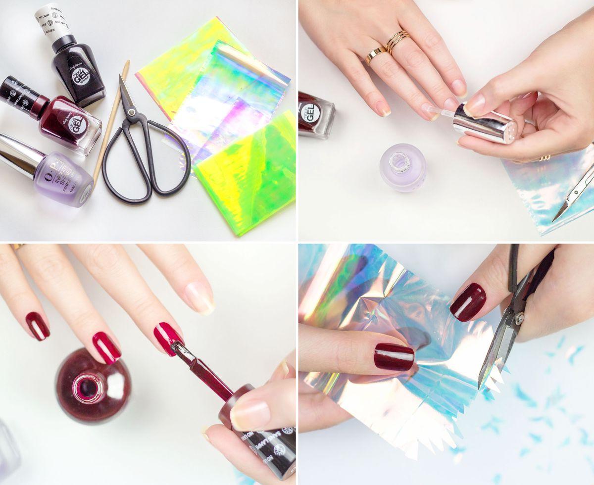 Как сделать битое стекло на ногтях в домашних условиях